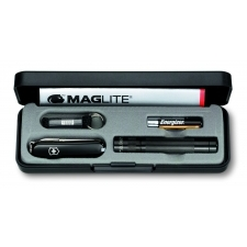 Set with Maglite-Solitaire LED and pocket knife Classic black